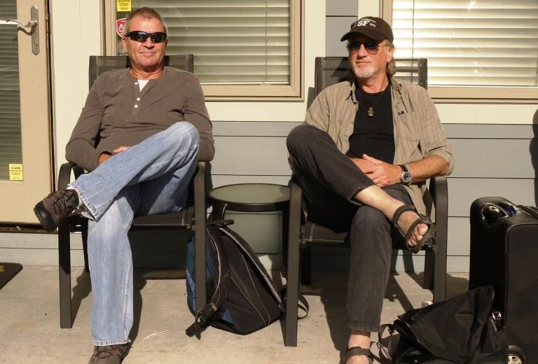 Estresados. Gillan y Glover descansan después de una sesión de grabación.